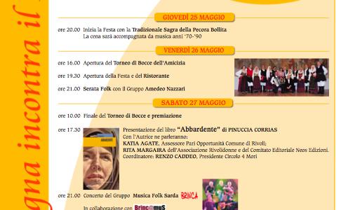 I Brinca alla XIV Settimana Culturale Sarda 2017 – dal 25 al 28 maggio a Rivoli